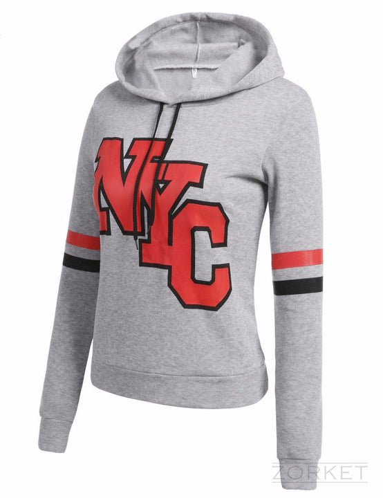 Women's Casual Hip Hop Hoodie With NYC Letters - Zorket