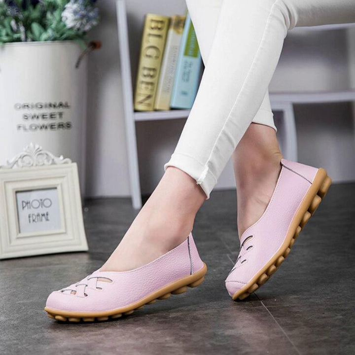 Women's Summer Genuine Leather Flats | Plus Size