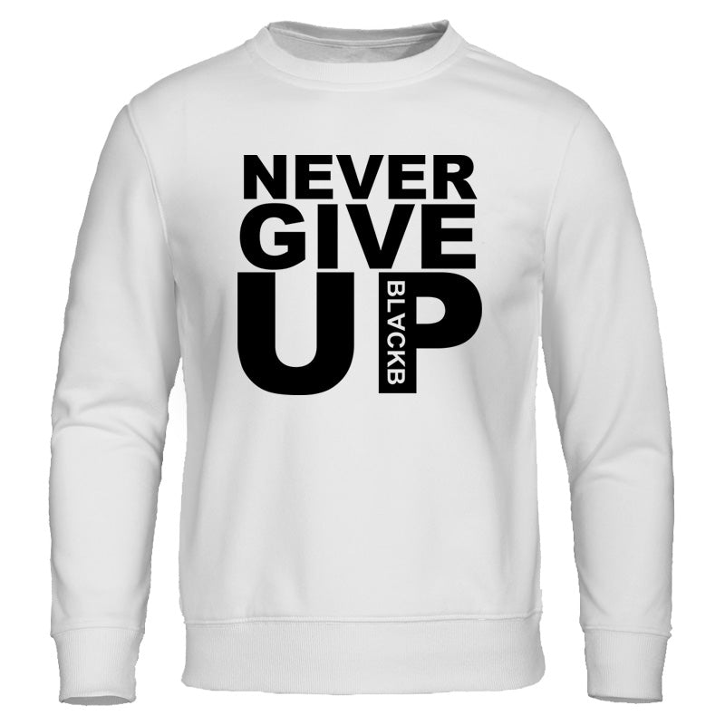 "Men's Autumn/Winter Casual Fleece Sweatshirt ""Never Give Up"""
