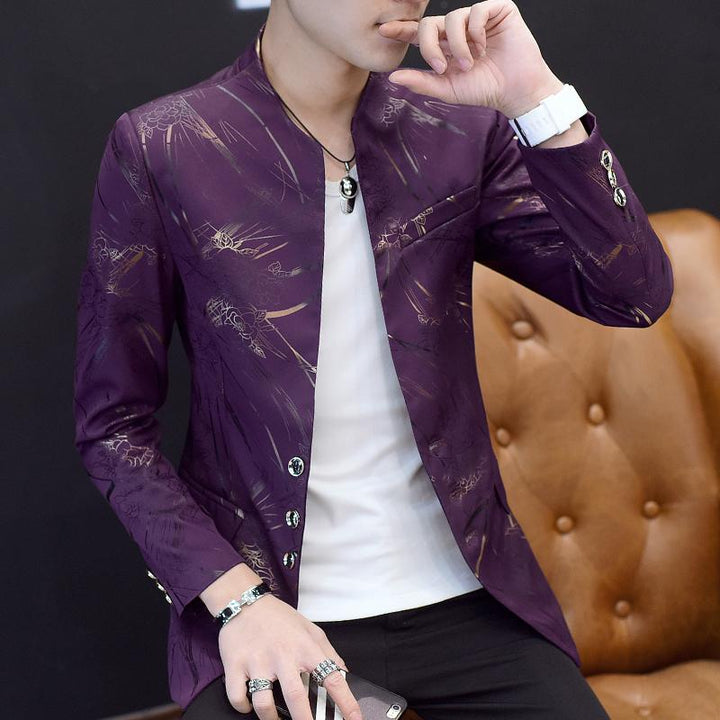Men's Slim Fit Blazer With Chinese Collar | Plus Size