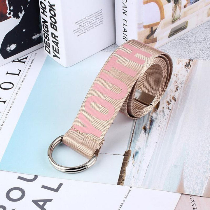 Women's Printed Canvas Belt With Double Buckle