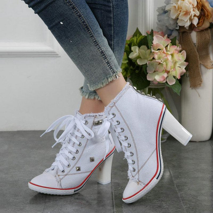 Women's Casual Canvas Pumps With Rivets