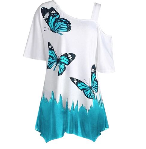 Women's Summer T-Shirt With Butterfly Printed