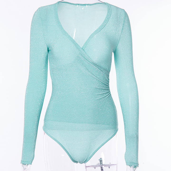 Women's Autumn/Winter Bodysuit With Deep V-Neck and Long Sleeves