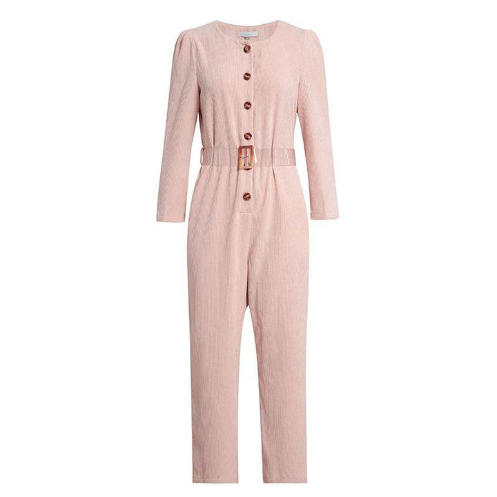 Women's Spring Cotton Long-Sleeved Jumpsuit With Buttons