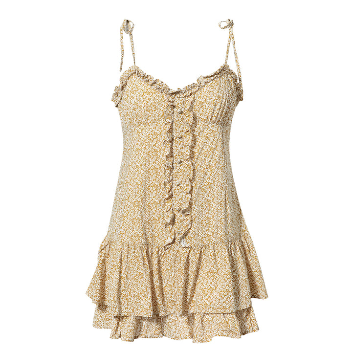 Women's Summer Ruffled Mini V-Neck Sleeveless Dress