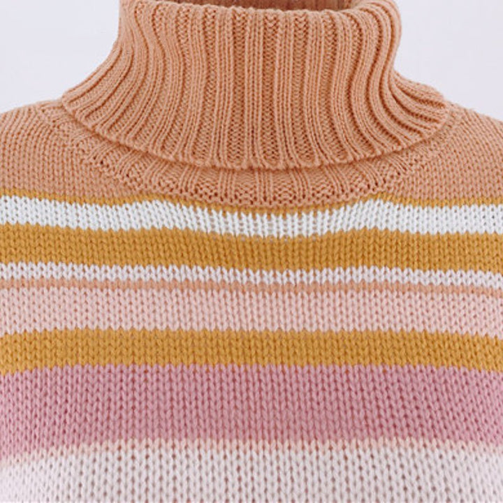 Women's Autumn/Winter Casual High-Neck Striped Sweater