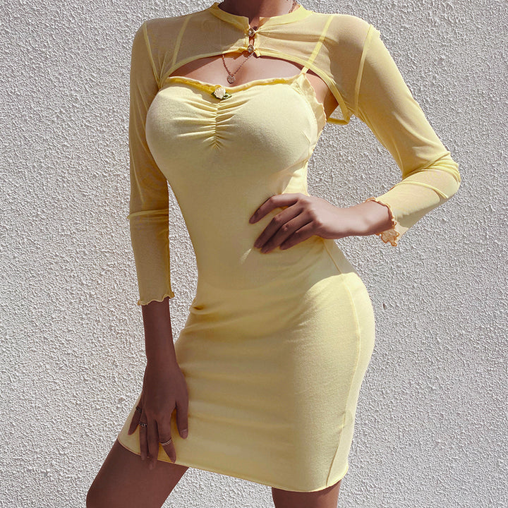 Women's Bodycon Mini Dress With Mesh Top