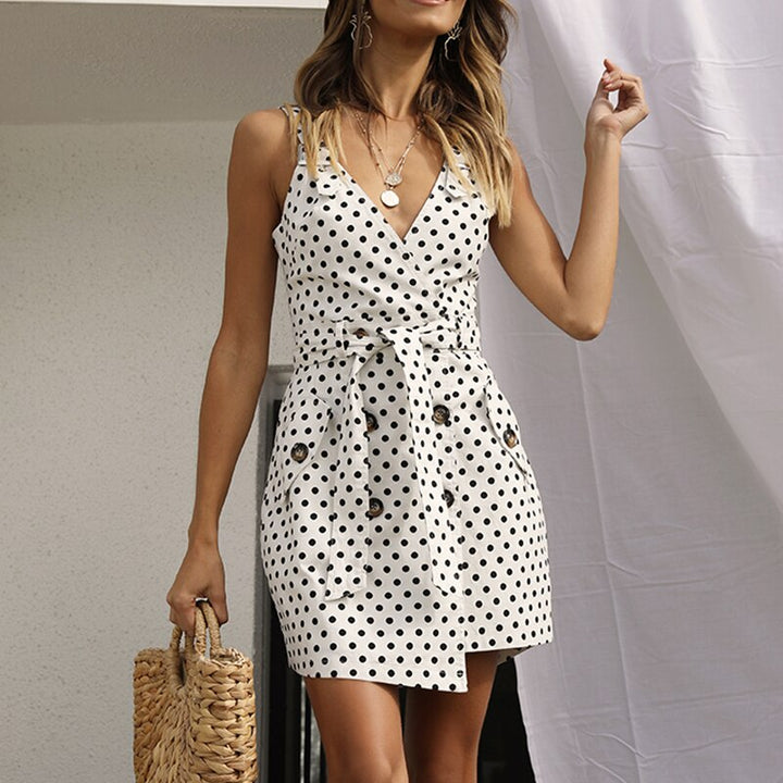 Women's Summer Casual V-Neck Sleeveless Dress With Print