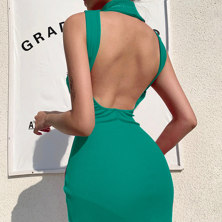 Women's Summer Backless High Neck Ribbed Skinny Dress