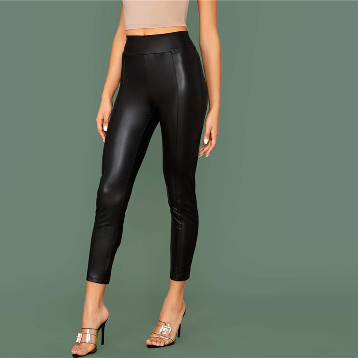Women's Casual Leather Skinny Leggings With Elastic Waist