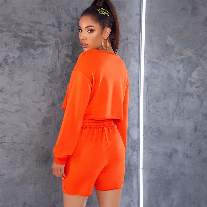Women's Casual Long-Sleeved O-Neck Two-Piece Suit