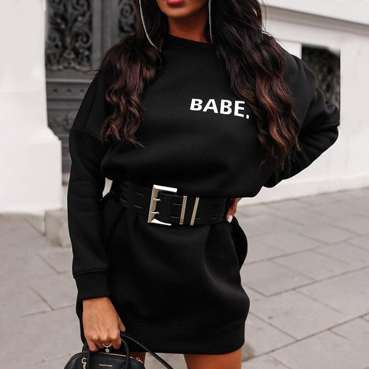 "Women's Autumn/Winter Warm Loose O-Neck Long Sweatshirt ""Babe"""