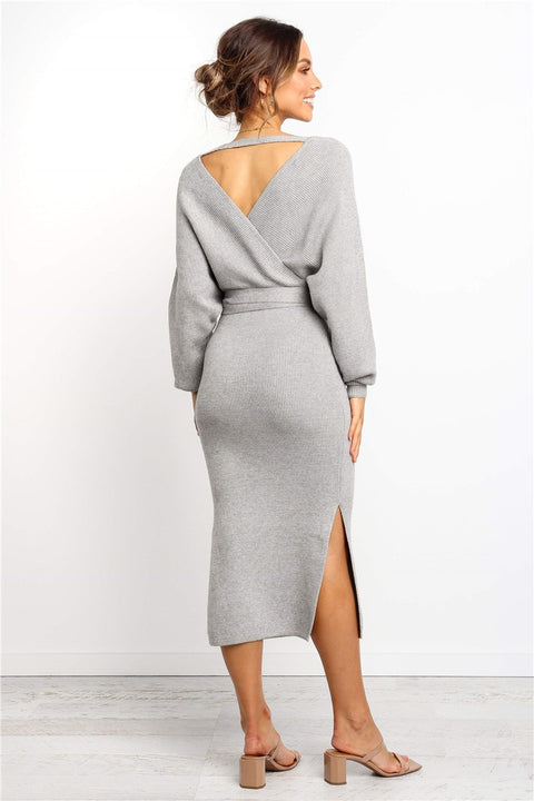 Women's Autumn/Winter Casual Sweater Knitted V-Neck Dress