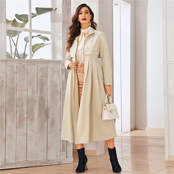 Women's Autumn High-Waist Polyester Long Trench