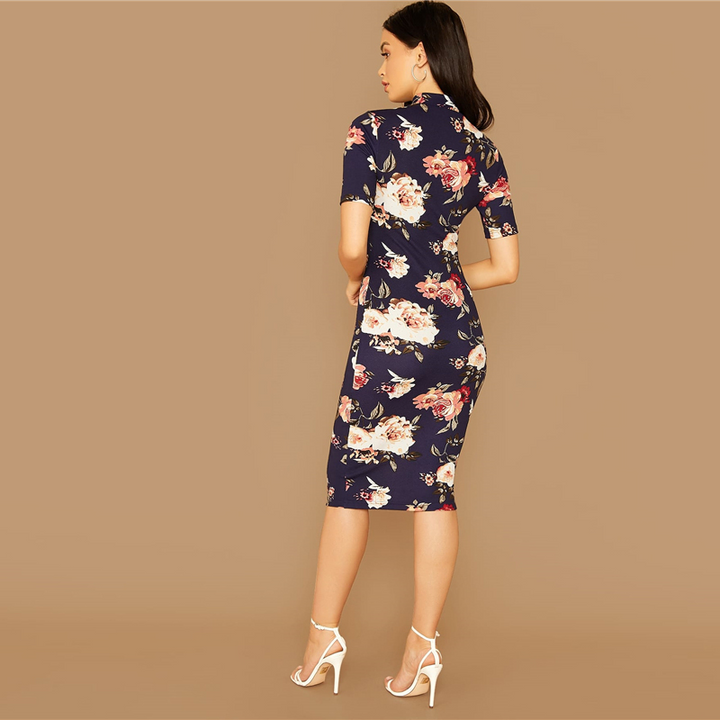 Women's Summer Casual Sheath Midi Dress With Print