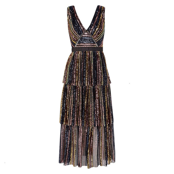 Women's Summer V-Neck Sequined Sleeveless Long Dress