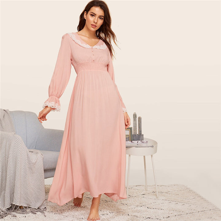 Women's Rayon V-Neck Maxi Nightgown With Lace