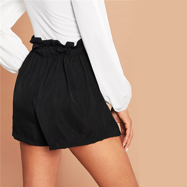 Women's Summer Casual Polyester Mid-Waist Shorts With Ruffles