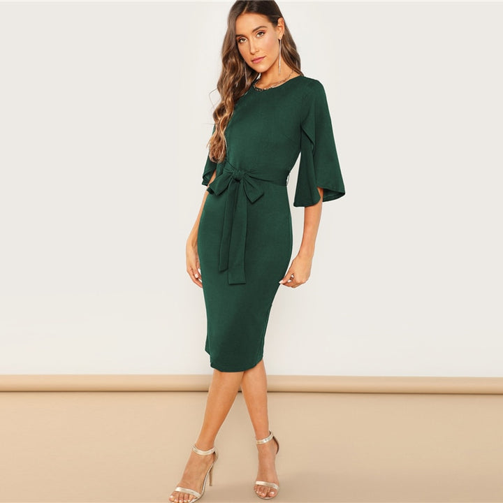 Women's Spring Knee Length Solid Dress