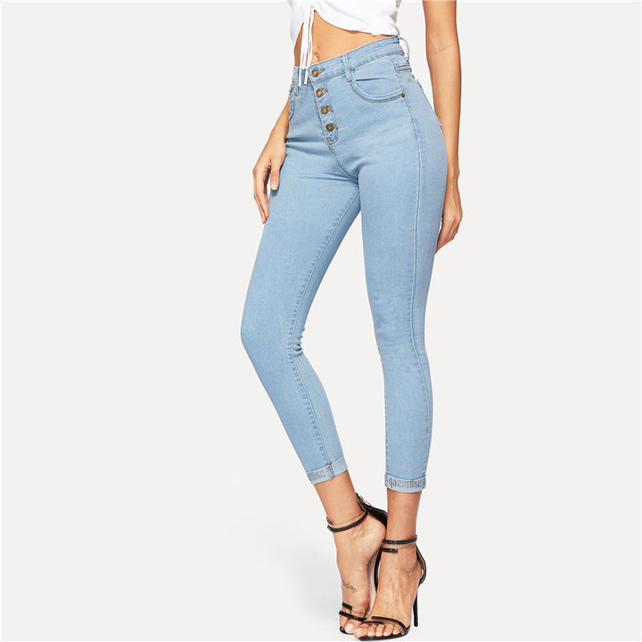 Women's Casual Skinny Mid-Waist Jeans With Buttons