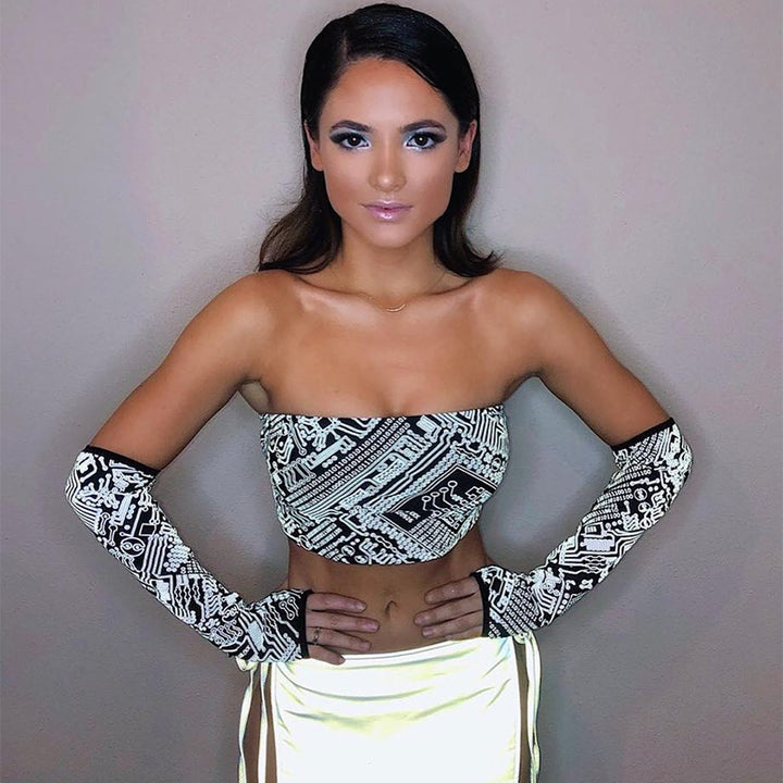Women's Printed Reflective Slim Tube Top