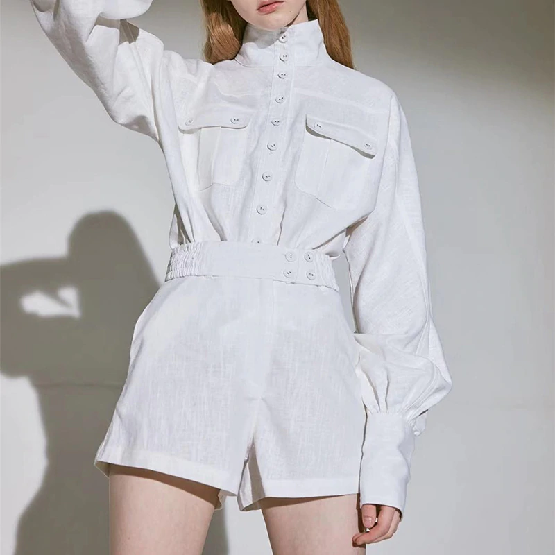 Women's Spring Cotton High-Waist Two-Piece Suit