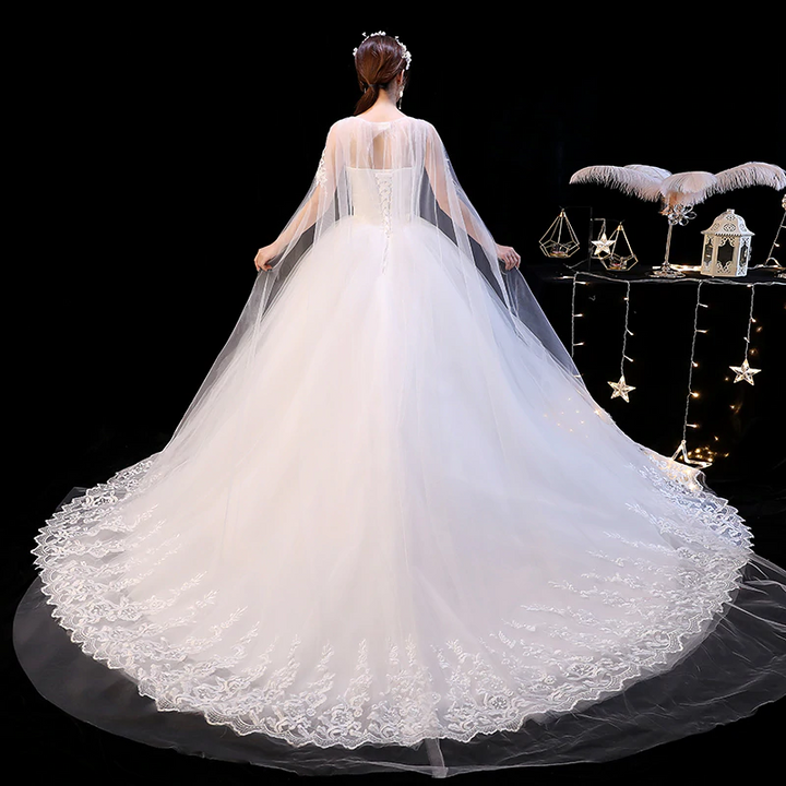 Women's Lace Long O-Neck Wedding Dress
