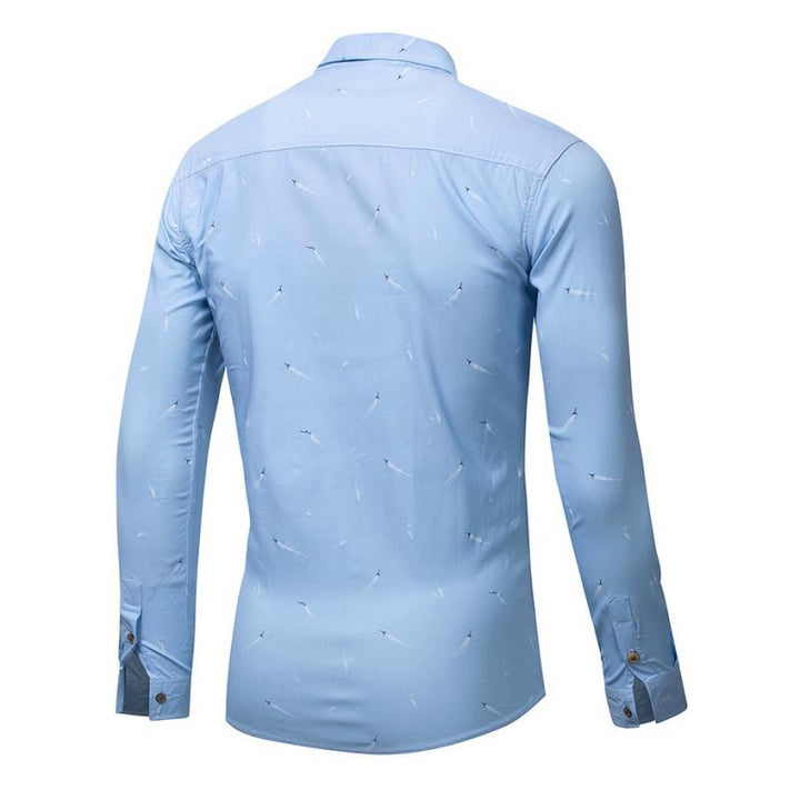 Men's Autumn Casual Long Sleeved Shirt With Print