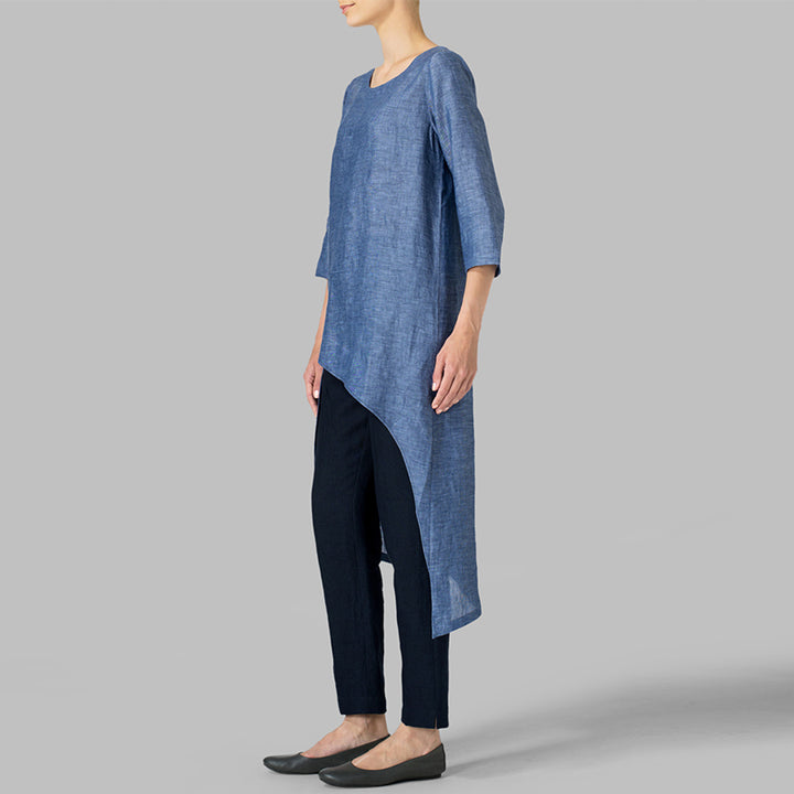 Women's Summer Casual Polyester O-Neck Long Tunic-Blouse