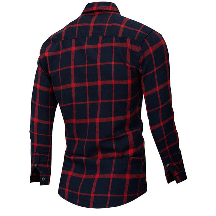 Men's Autumn Casual Plaid Long Sleeved Shirt | Plus Size