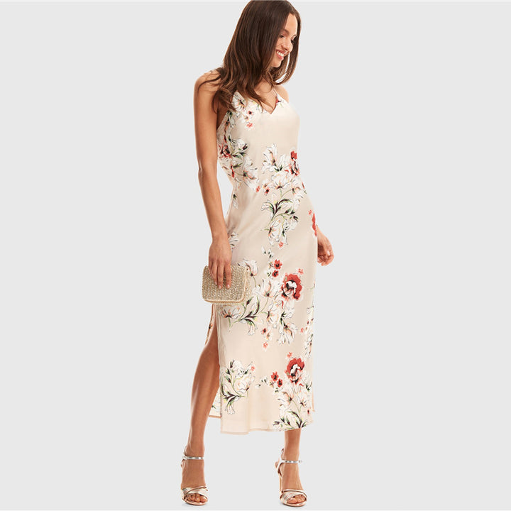 Women's Summer Satin V-Neck Floral Long Dress