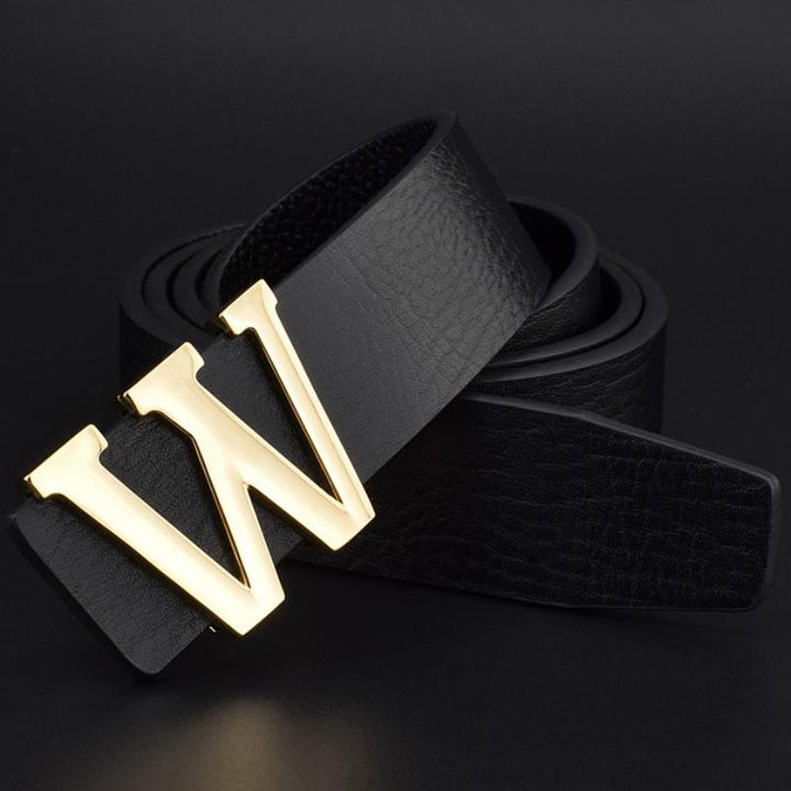 Men's Genuine Leather Belt With W-Shaped Buckle