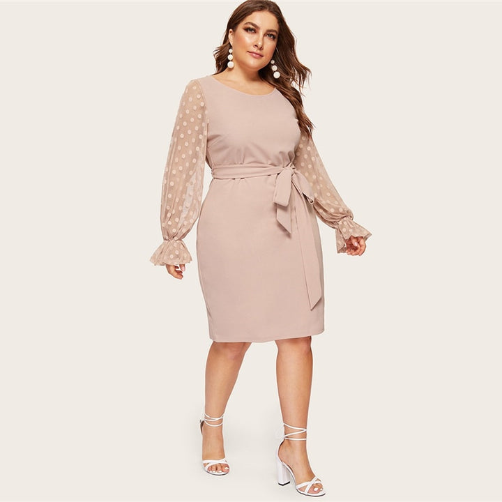 Women's Spring Mesh Sleeve Belted Dress | Plus Size