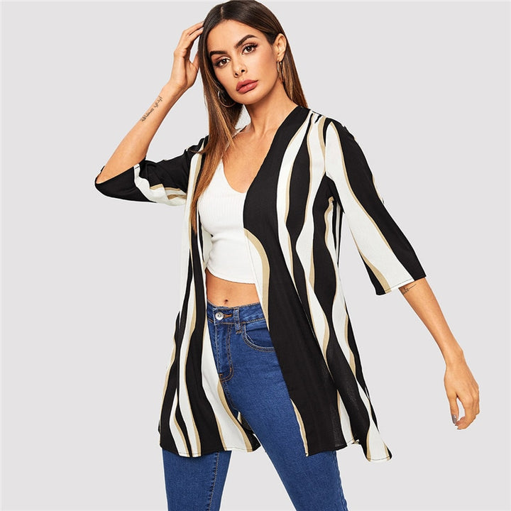 Women's Spring/Summer Striped Cardigan