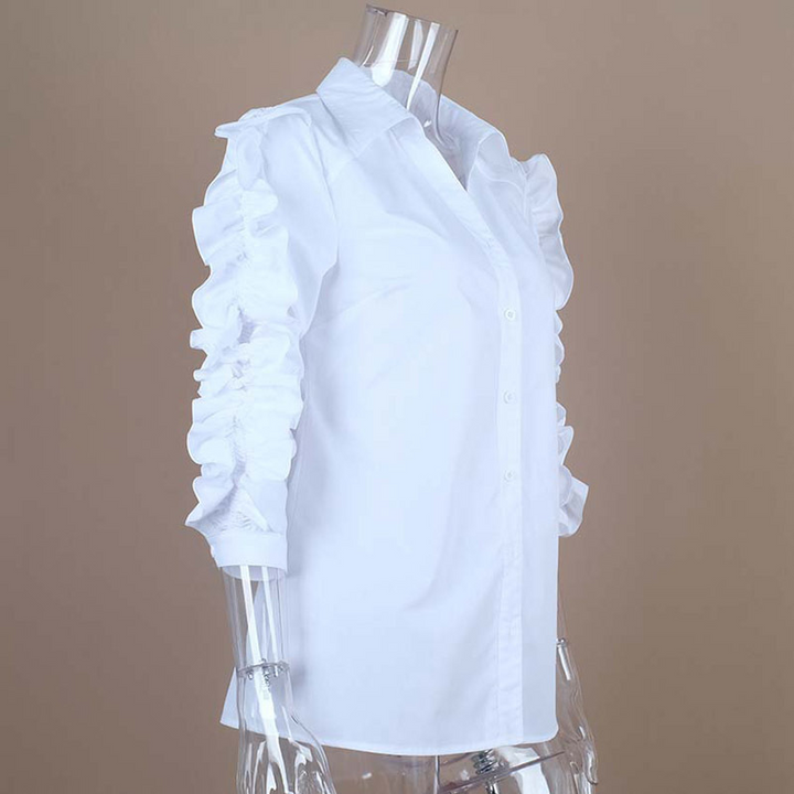 Women's Cotton Long-Sleeved Blouse With Ruffles