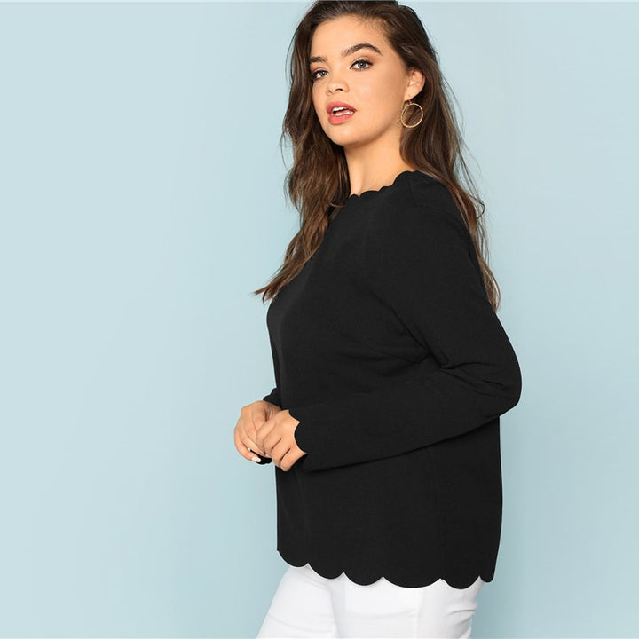 Women's Autumn Solid Scallop Edge T-Shirt | Plus Size
