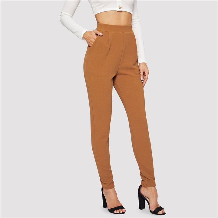 Women's Elastic Waist Long Pants With Pockets