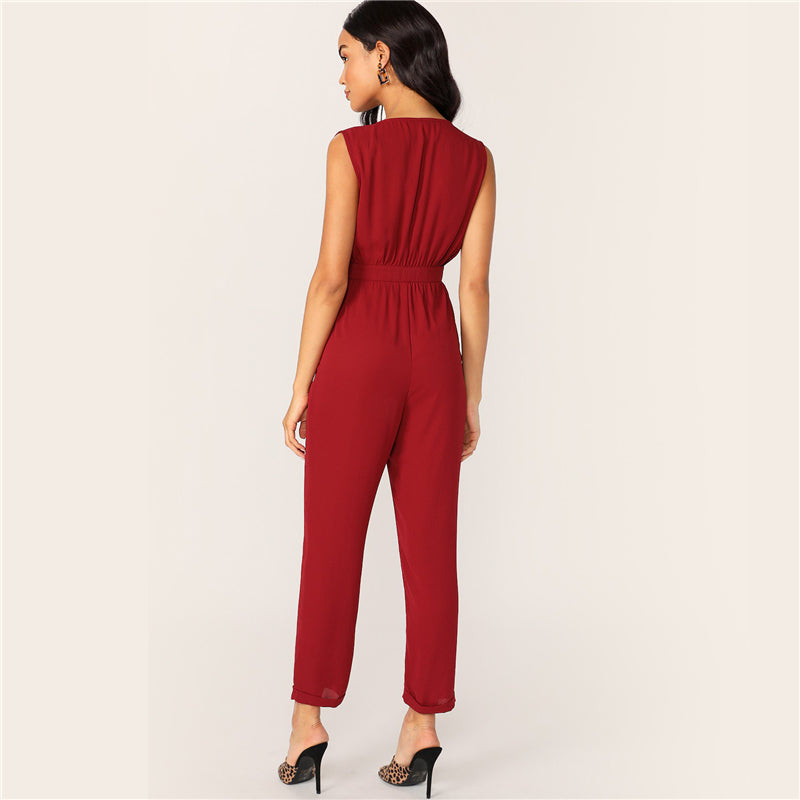 Women's Summer Sleeveless V-Neck Jumpsuit
