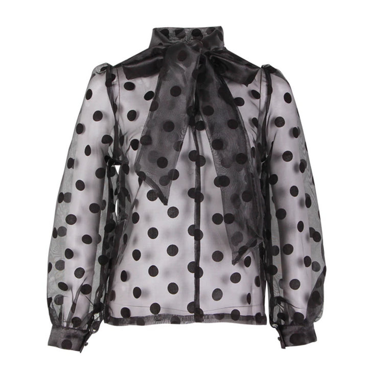 Women's Polyester Long-Sleeved Blouse With Polka Dot Print