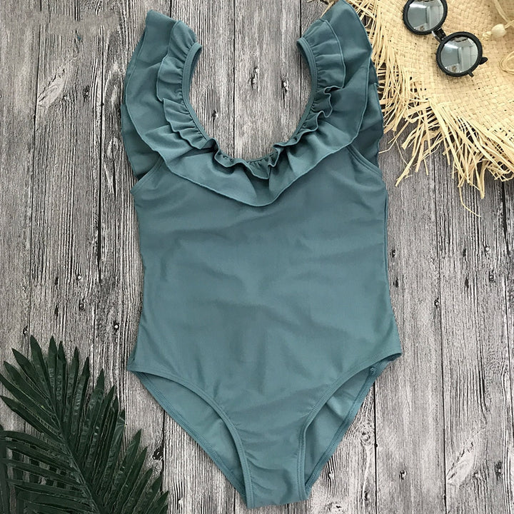 Women's One Piece Swimsuit With Frill