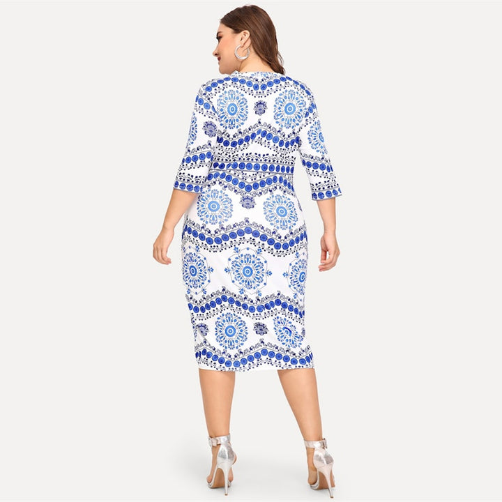 Women's Summer Bodycon Dress With Porcelain Print | Plus Size