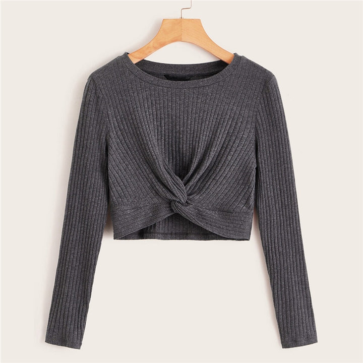 Women's Casual Spandex Knitted O-Neck Crop Top