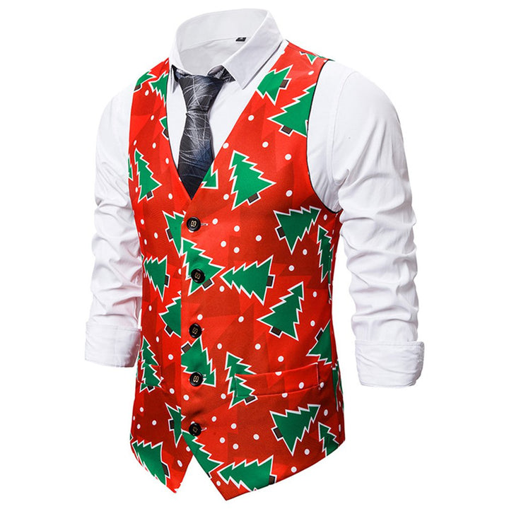 Men's Single Breasted Vest With Print
