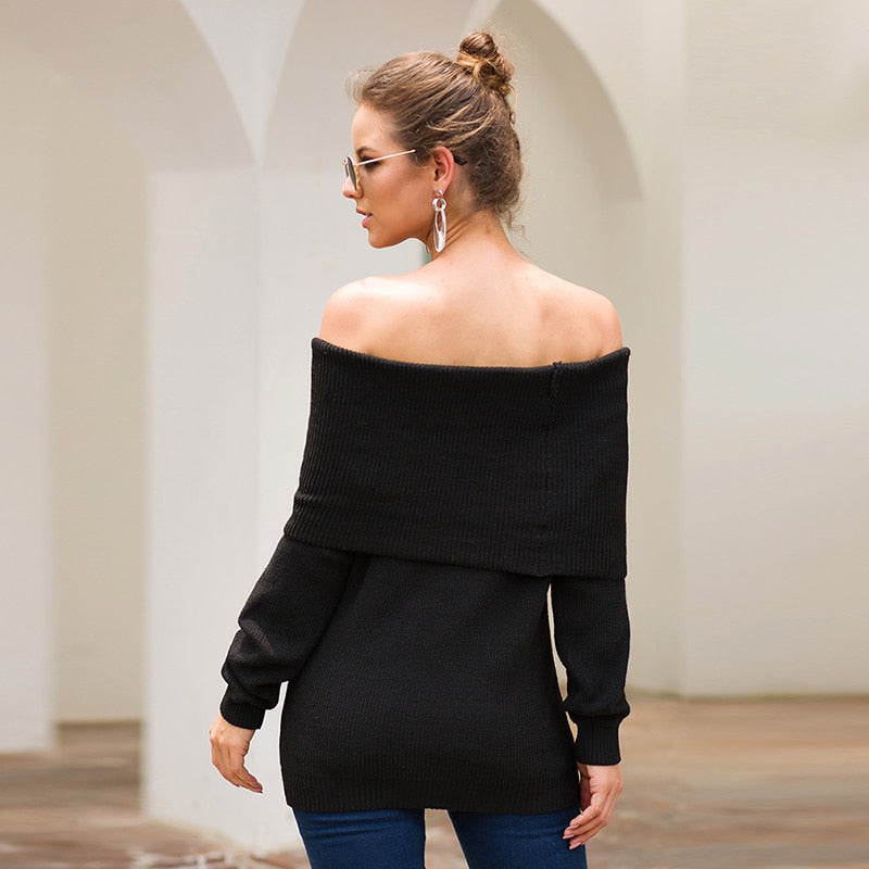 Women's Autumn/Winter Off Shoulder Knitted Sweater
