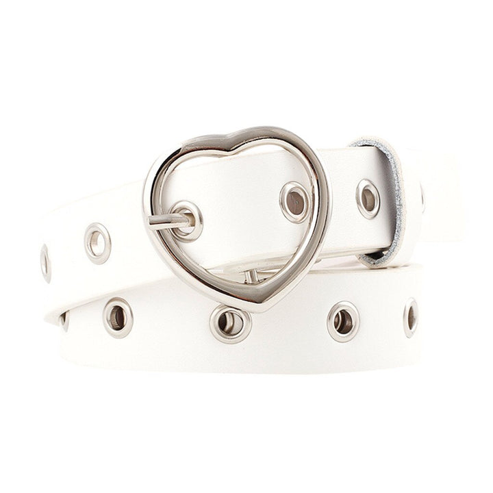 Women's Leather Belt With Heart Shaped Buckle