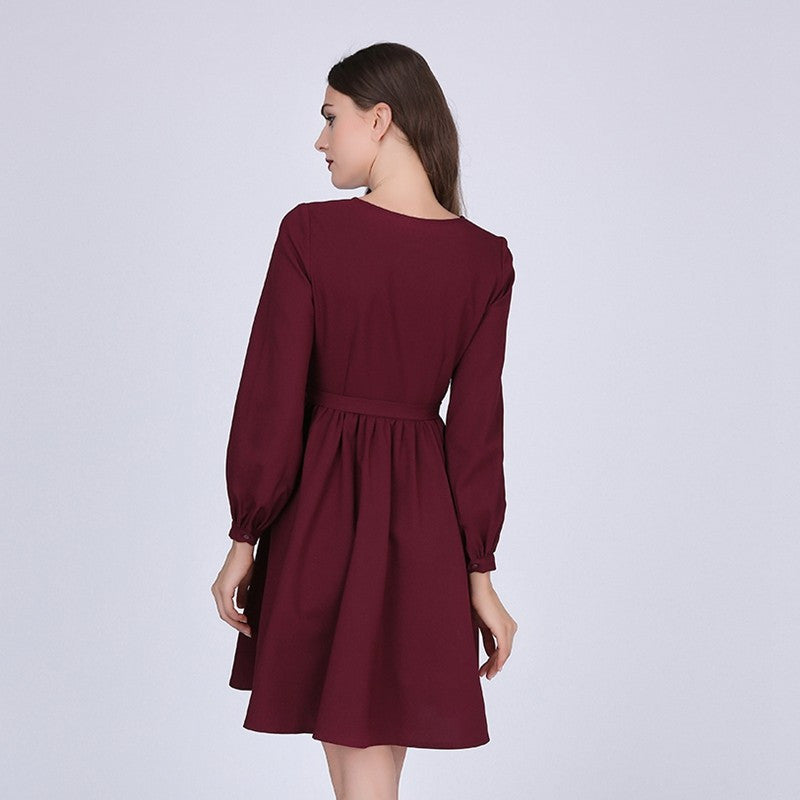 A-Line Dress With O-Neck - Zorket
