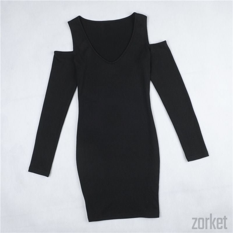 Bodycon Dress – Black V-Neck Bodycon Dress | Zorket