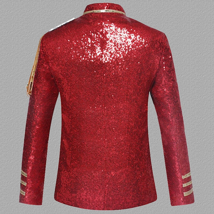 Men's Single Breasted Blazer With Sequins