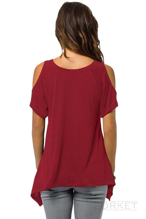 Solid Color V-Neck Women's Loose T-Shirt - Zorket